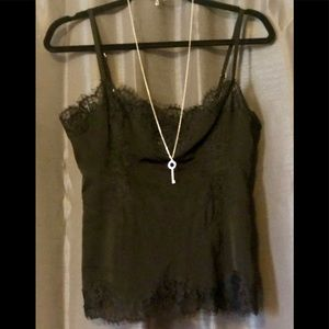 Bebe sultry black satin and lace camisole
